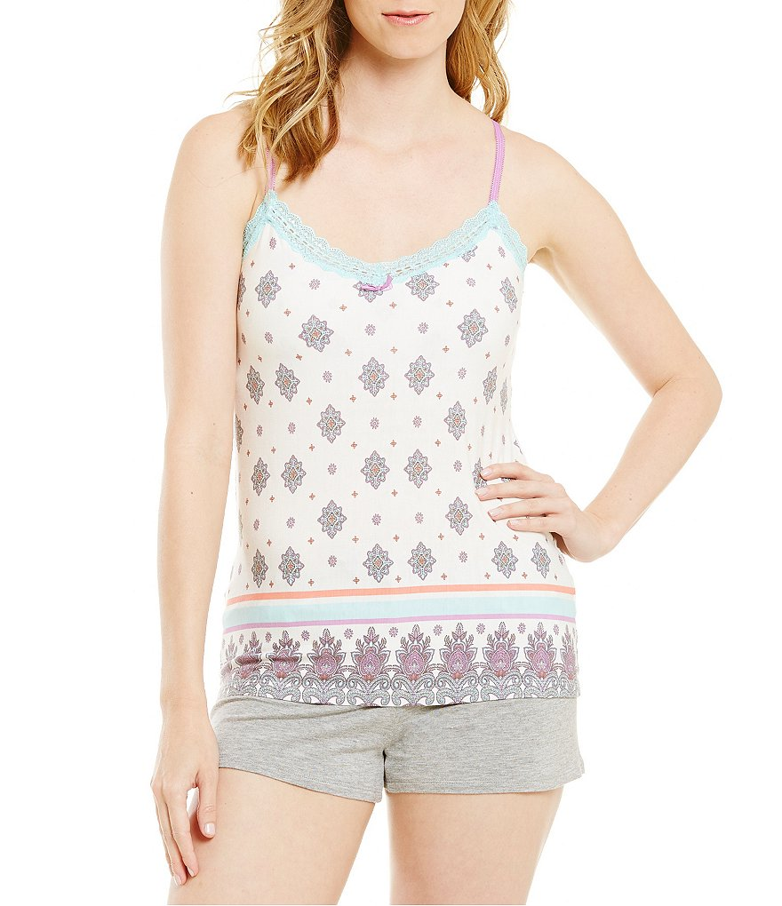 PJ Salvage Geo-Print Jersey Knit Lace Trim Sleep Tank