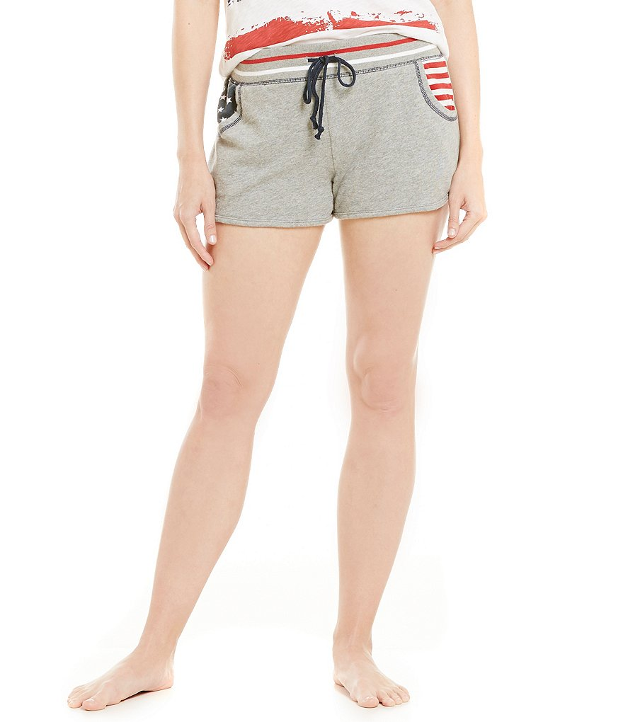 PJ Salvage Road Trip Flag Inspired Terry Sleep Shorts