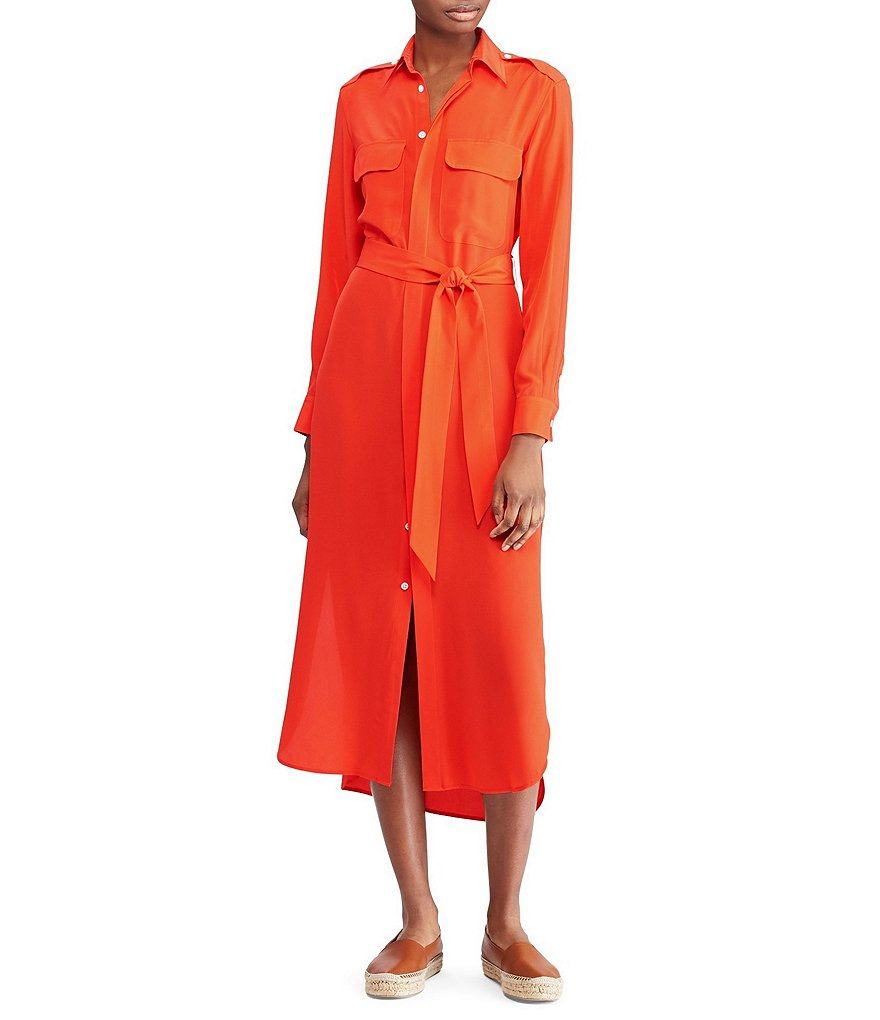 Belted Silk Midi Shirtdress by Polo Ralph Lauren