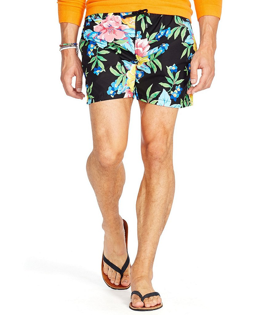 Polo Ralph Lauren Floral-Print Traveler Swim Trunks
