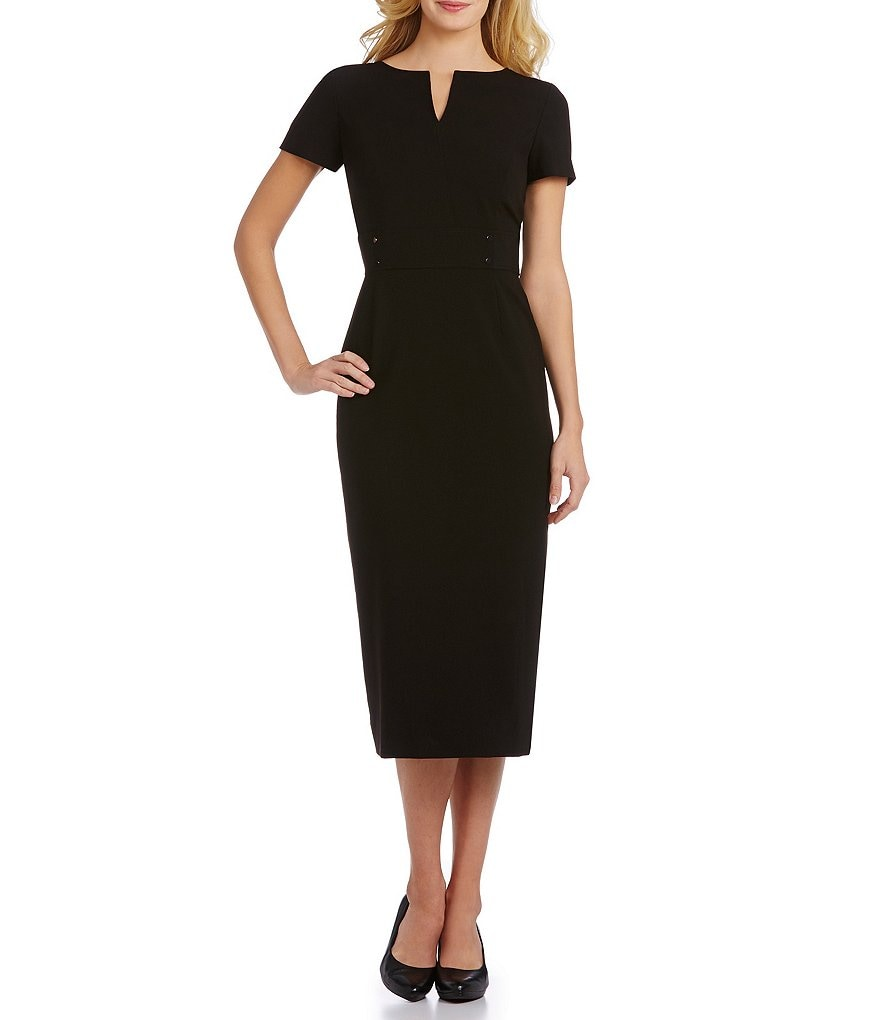 Preston & York Blake Notch V-Neck Midi Length Sheath Dress