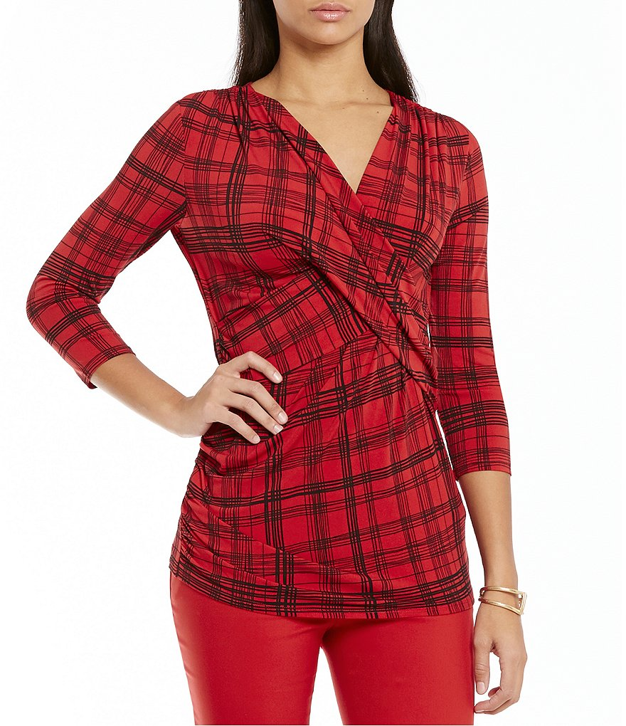 Preston & York Renee Plaid Cross Front Ruched Top