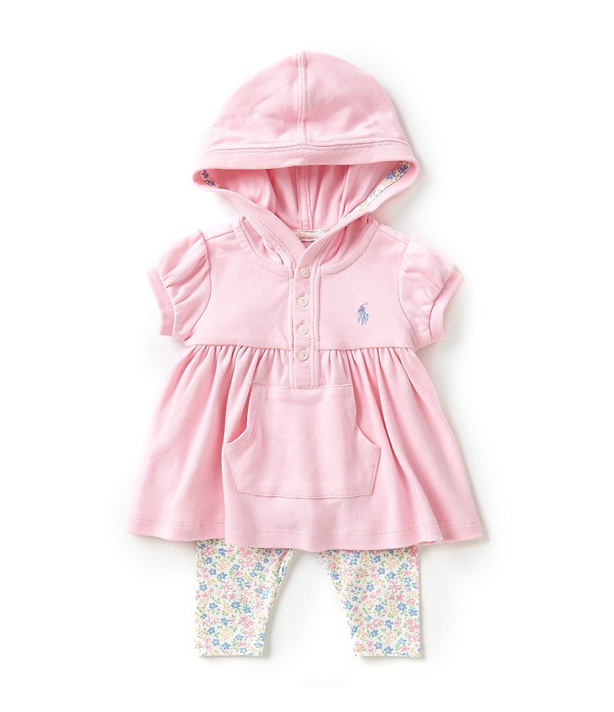 Ralph Lauren Childrenswear Baby Girls 3-24 Months Hooded Top & Printed Leggings Set