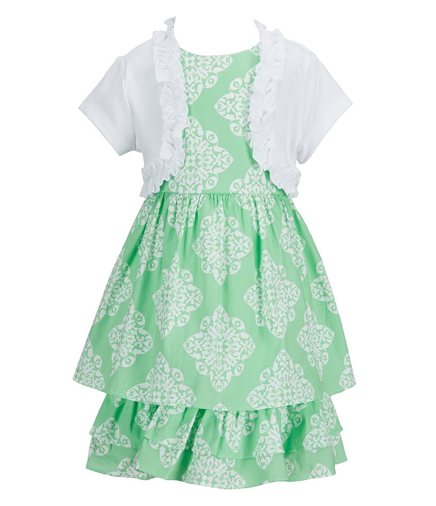 Rare Editions Little Girls 2T-6X Ruffle-Trim Cardigan & Toile-Printed Dress Set