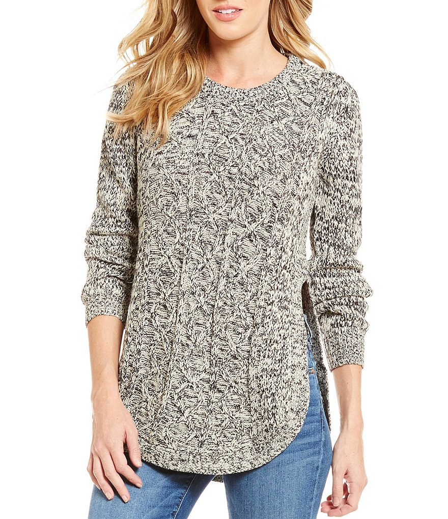 RD Style Round Neck Long Sleeve Chunky Cable Knit Sweater