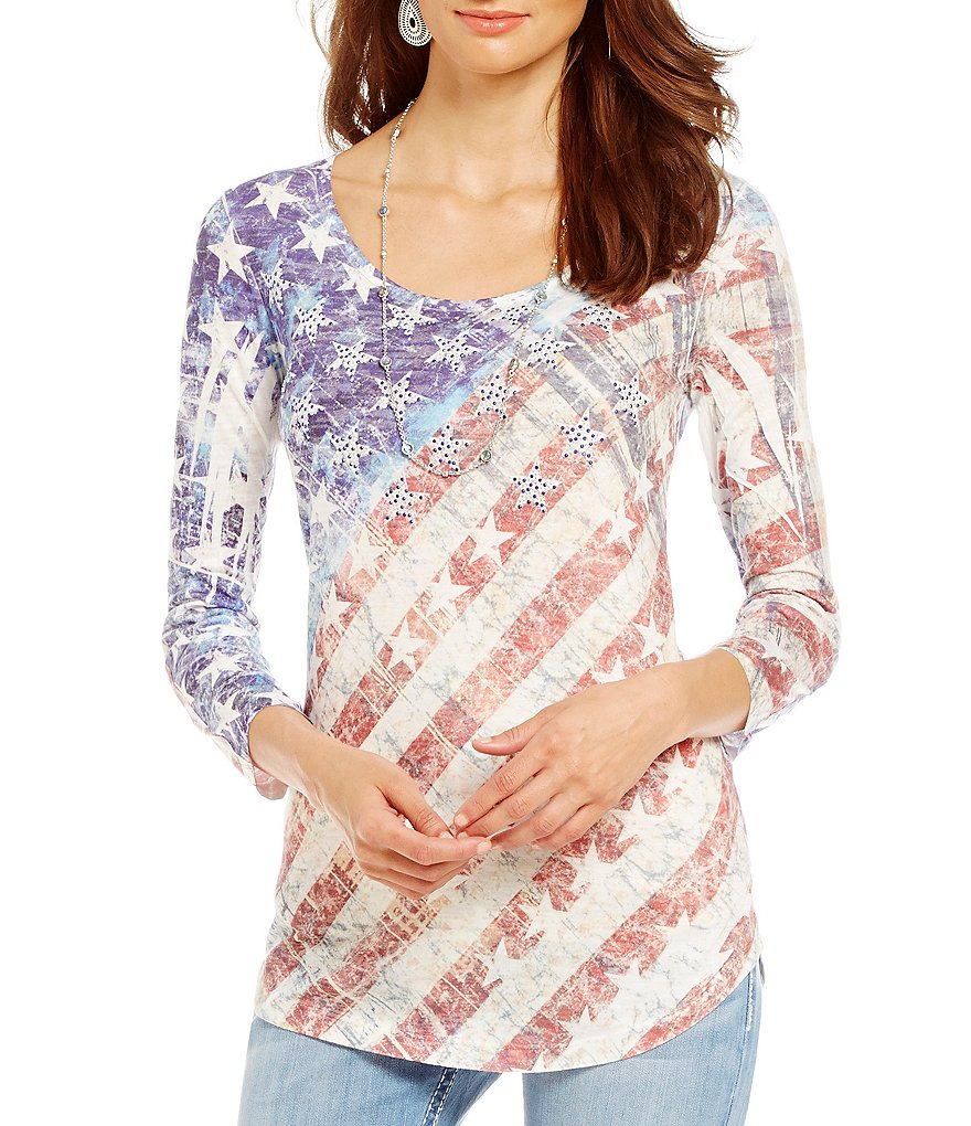 Reba Desert Mirage American Flag Knit Top
