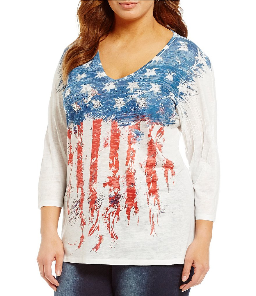 Reba Plus Embellished Flag Top