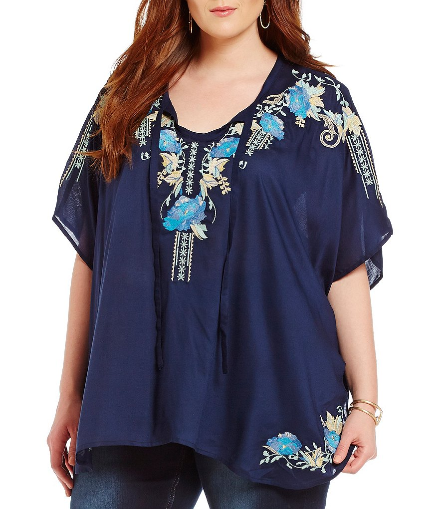 Reba Plus Embroidered Split V-Neck Poncho