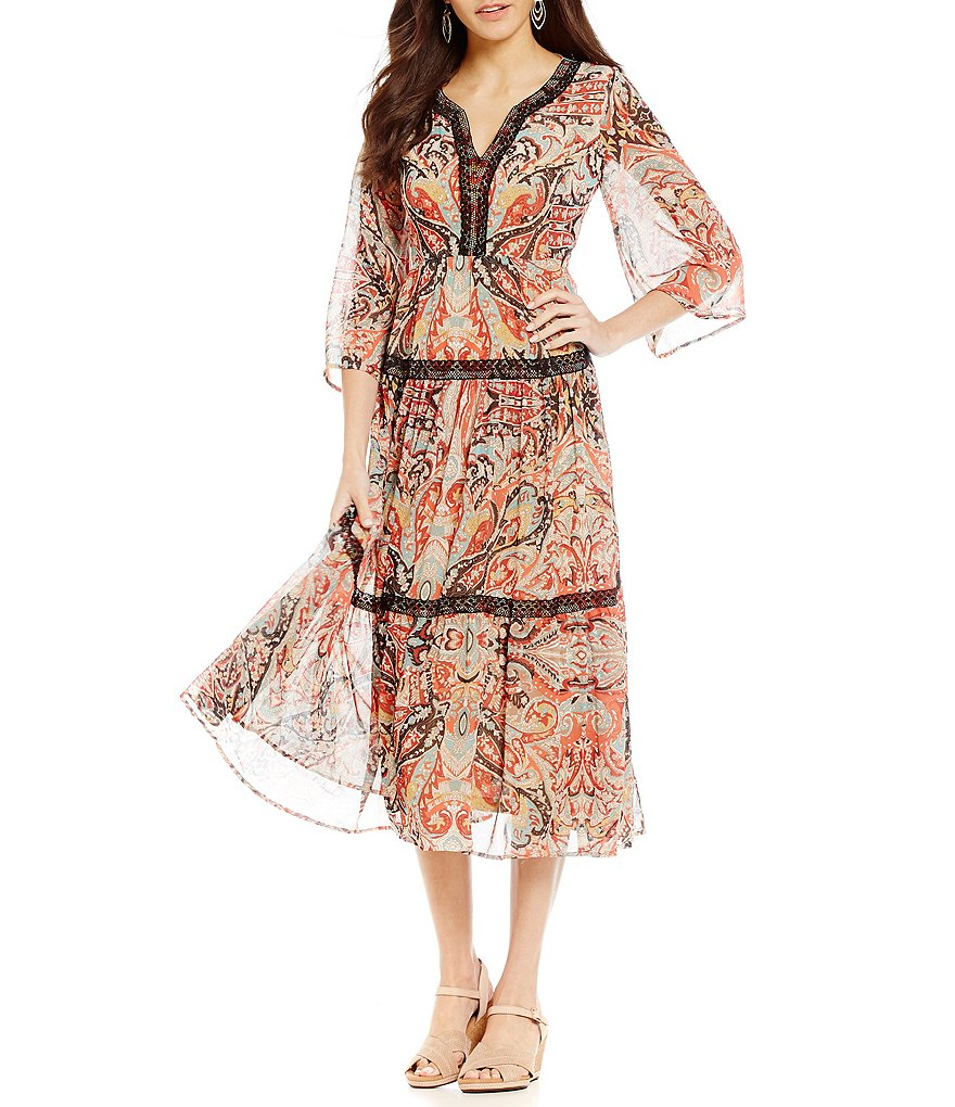 Reba Printed Chiffon Dress with Contrast Lace