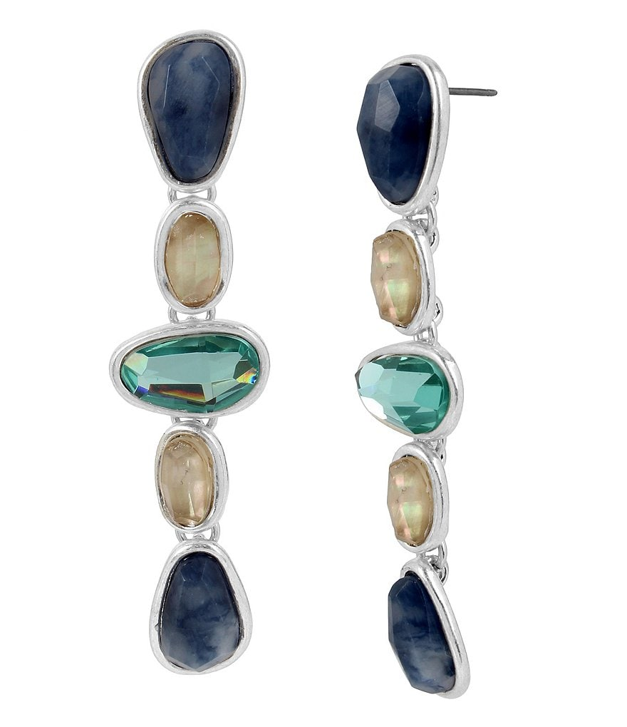 Robert Lee Morris Soho Sculptural Sodalite Stone Linear Drop Earrings