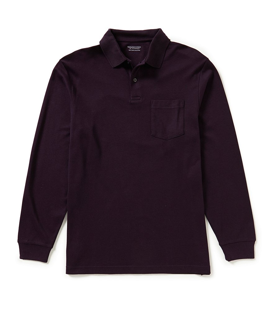 Roundtree & Yorke Silky Finish Long Sleeve Solid Polo