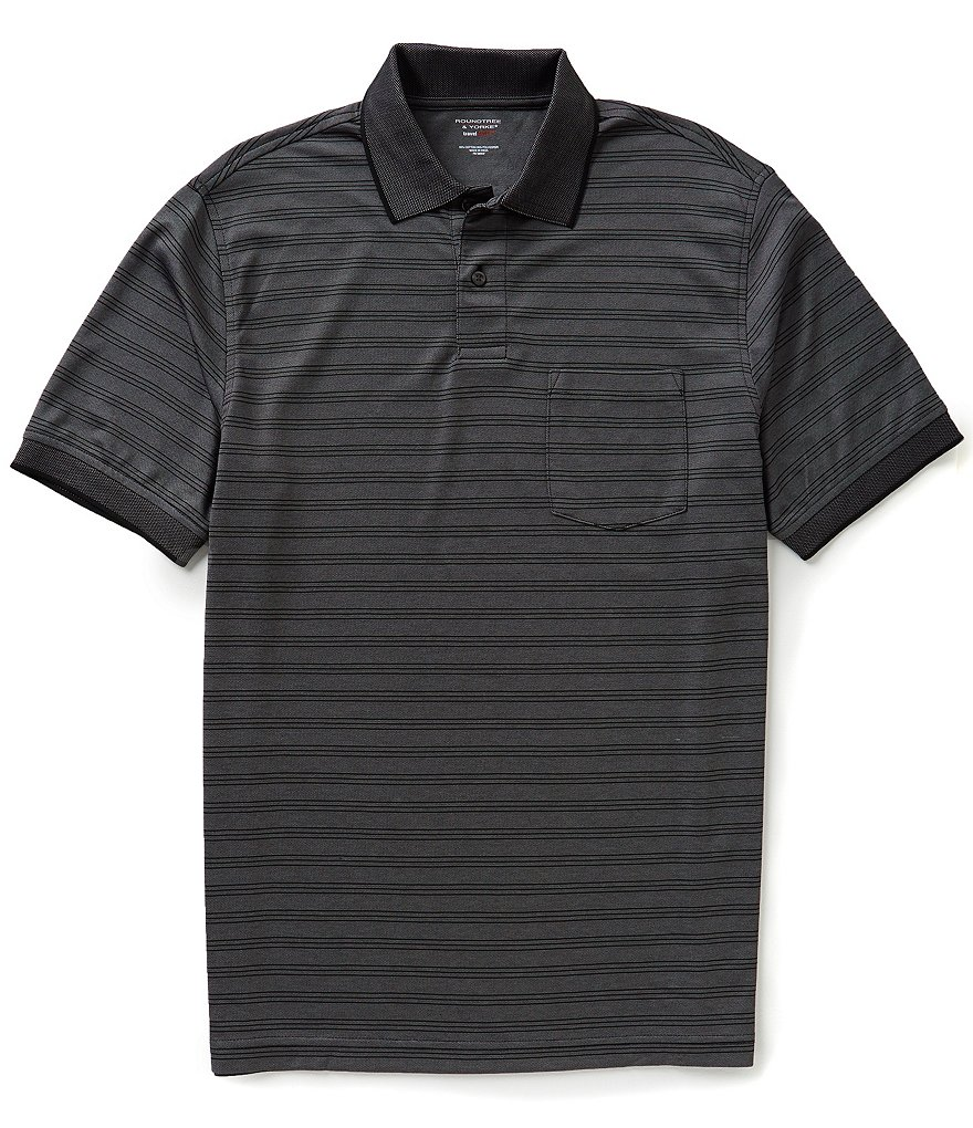 Roundtree & Yorke Big & Tall Travelsmart Horizontal Striped Polo