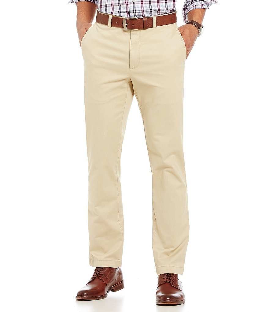Roundtree & Yorke Casual Flat Front Straight Fit Stretch Chino Pants