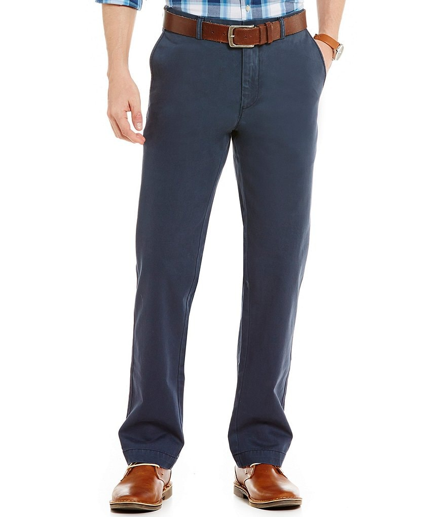 Roundtree & Yorke Casuals Flat Front Soft Washed Chino Pants