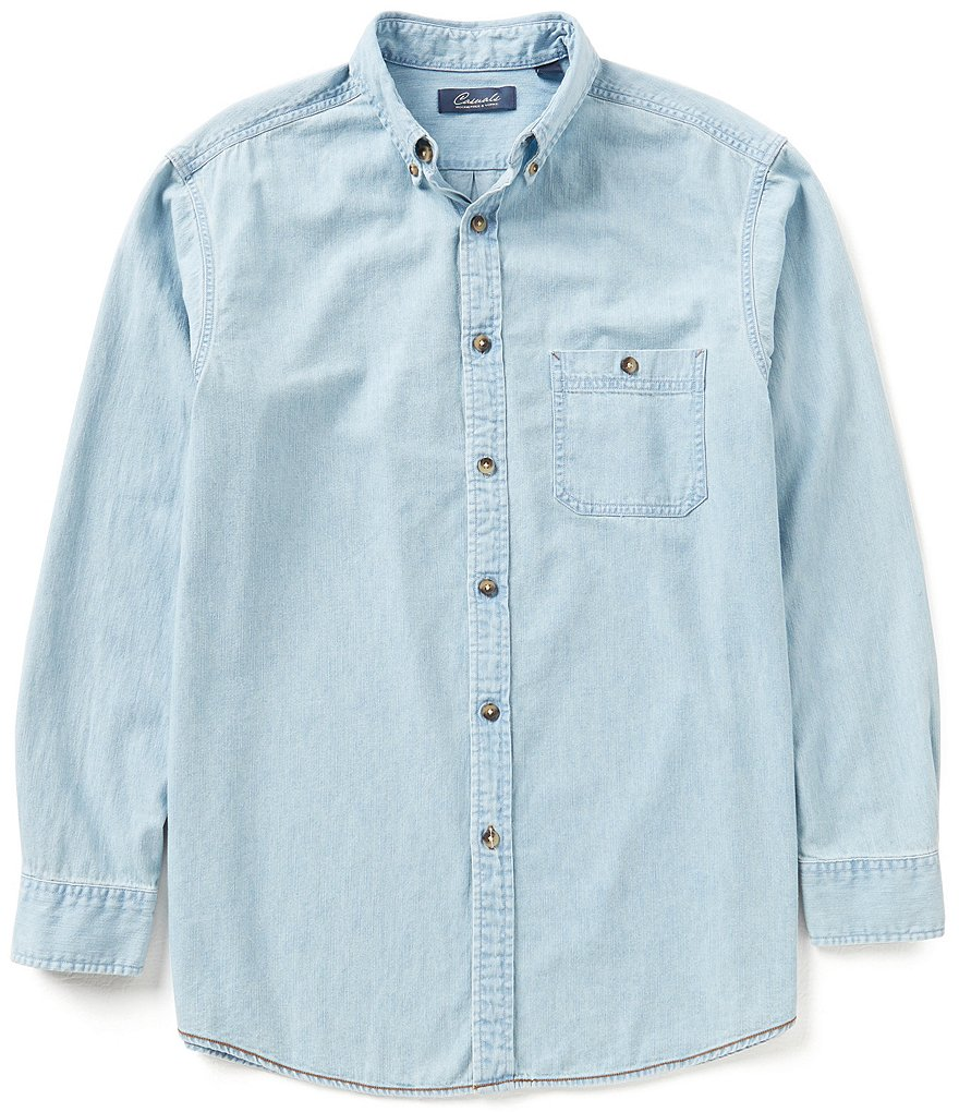 Roundtree & Yorke Casuals Long-Sleeve Solid Denim Button-down Collar Sportshirt