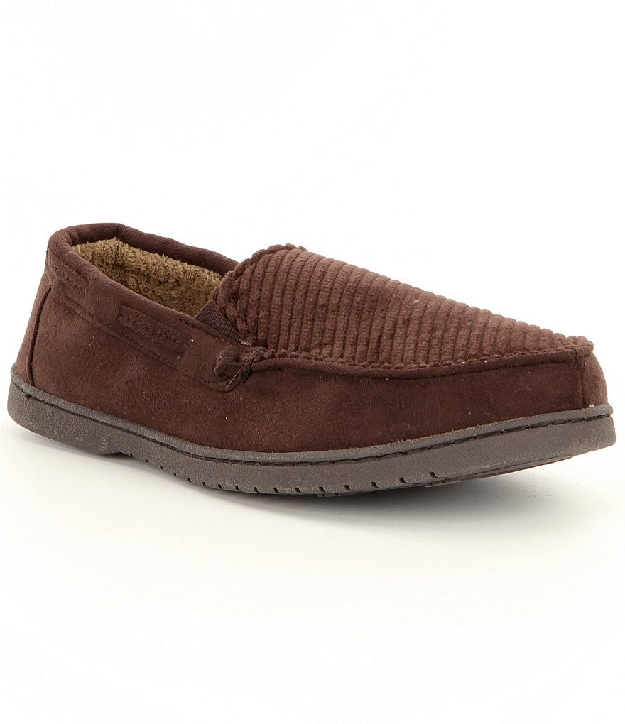 Roundtree & Yorke Corduroy Moccasin Slippers