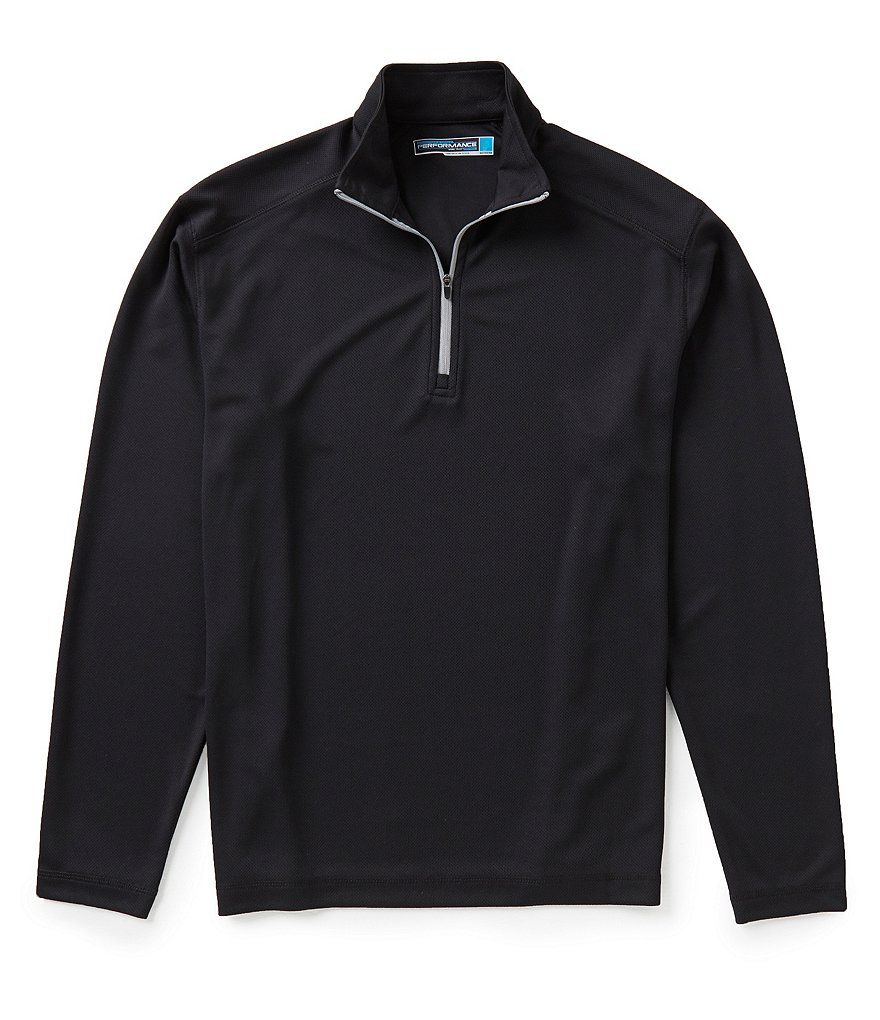 Roundtree & Yorke Performance Big and Tall Long Sleeve Solid Quarter Zip Pullover