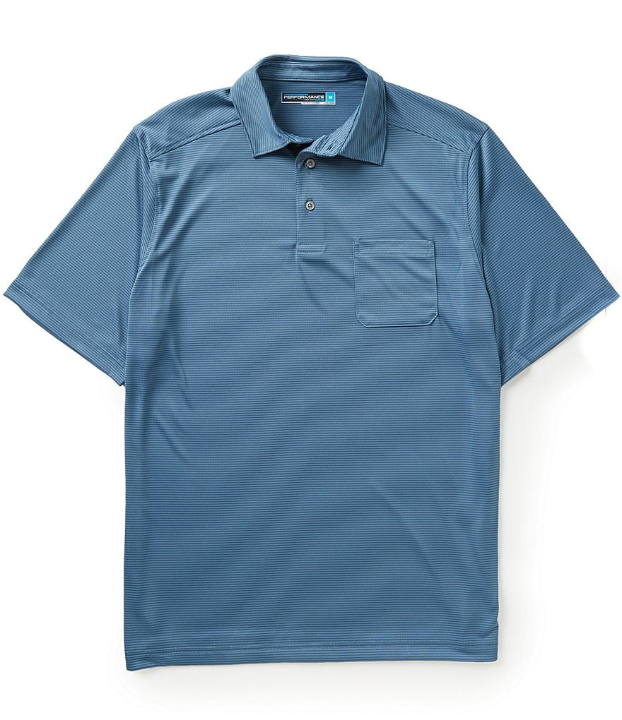 Roundtree & Yorke Performance Short-Sleeve Horizontal-Striped Polo