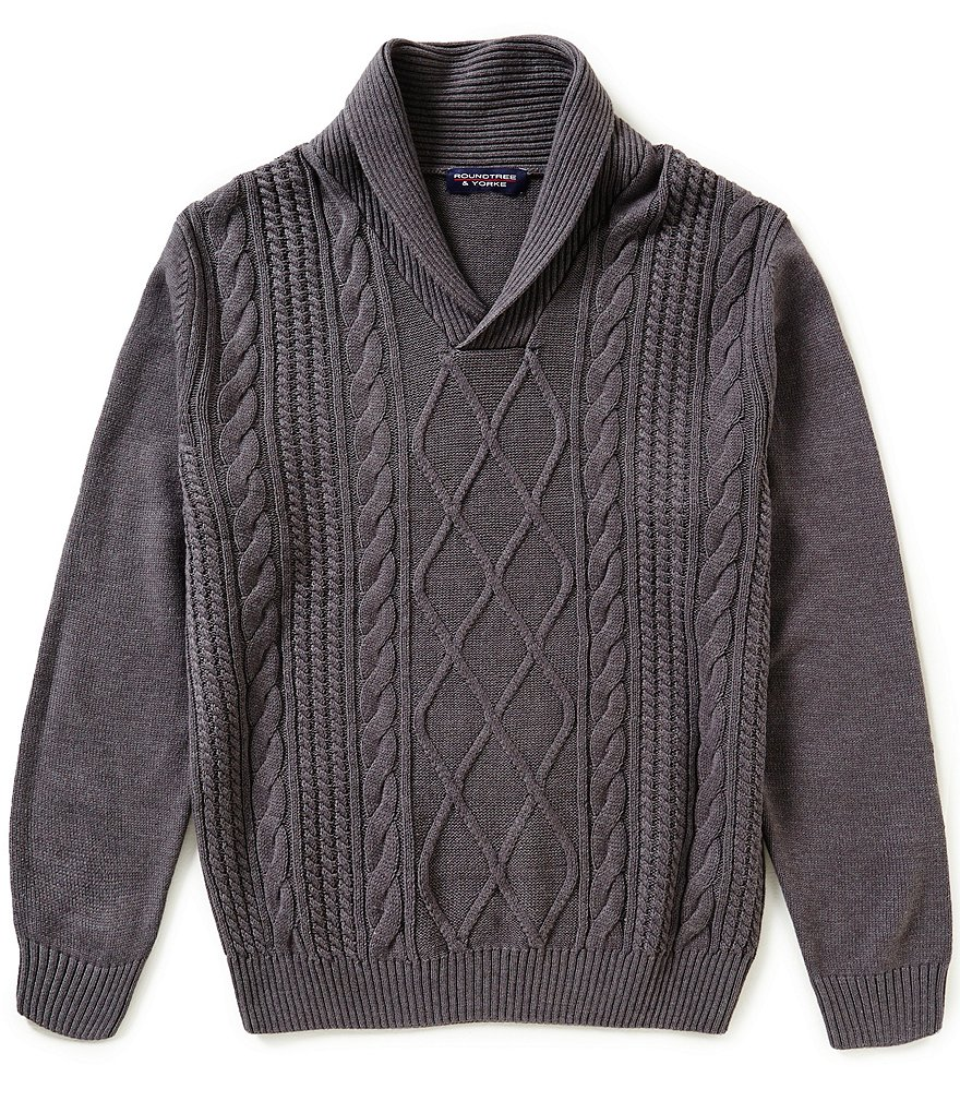 Roundtree & Yorke Shawl Collar Cable-Knit Pullover Sweater
