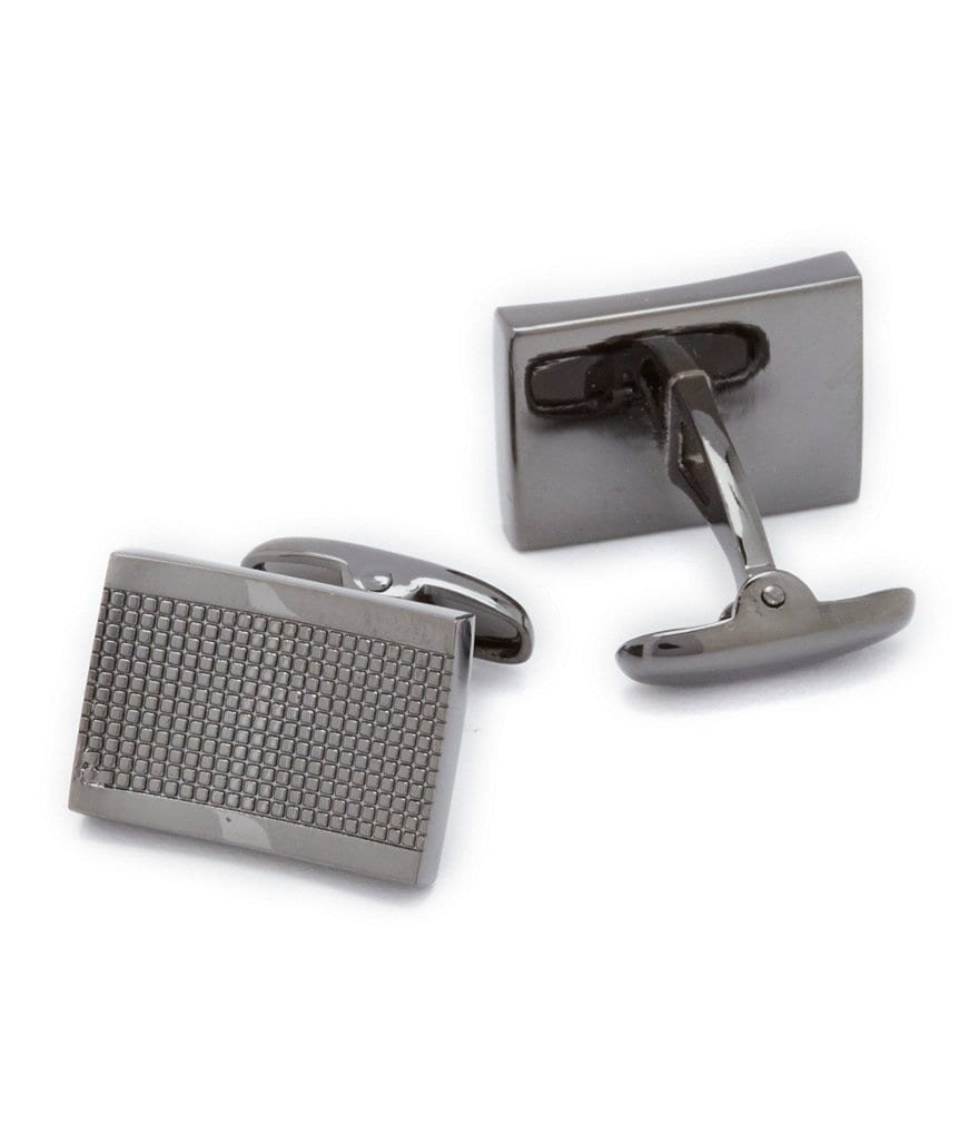 Roundtree & Yorke Square Grid Gunmetal Cuff Links