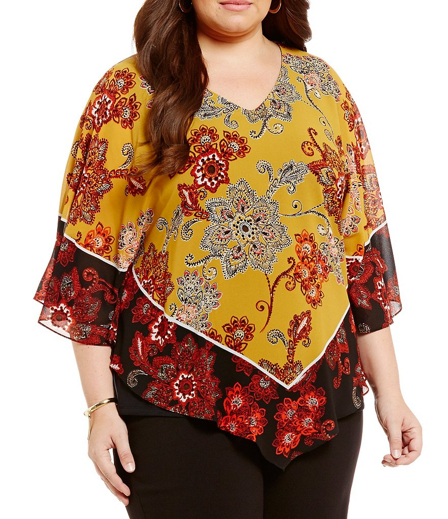 Ruby Rd. Plus Gypsy Scarf Print Butterfly Top