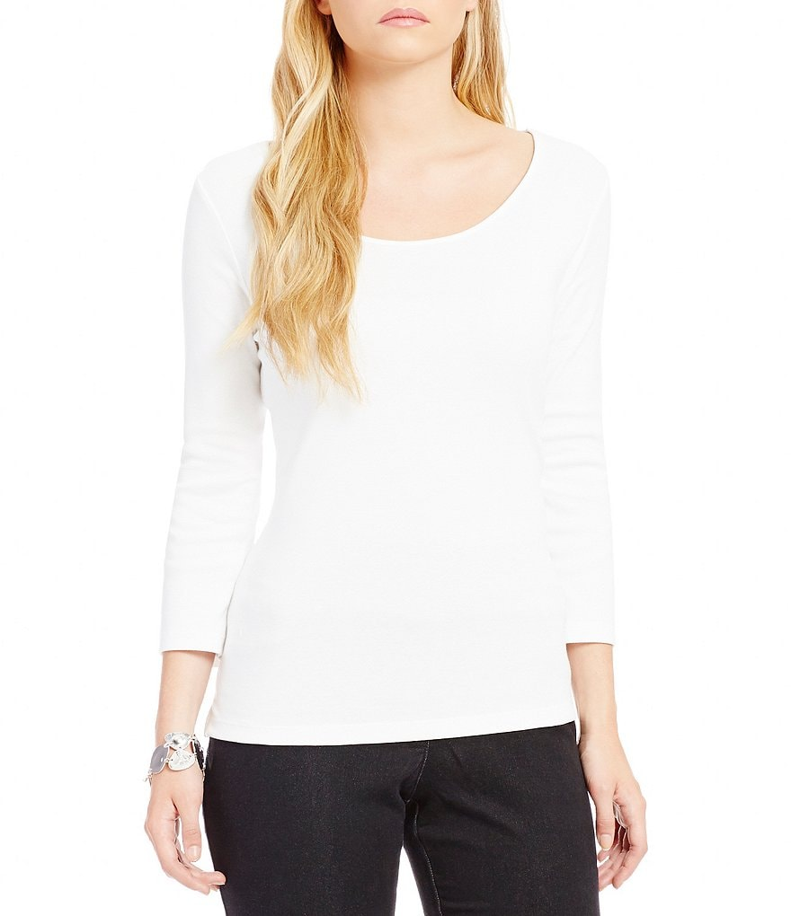Ruby Rd. Scoop Neck 1X1 Rib Knit Top