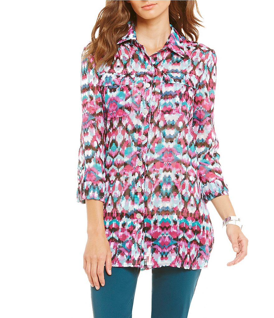 Ruby Rd. Woven Ikat 3/4 Sleeve Collared Tunic Shirt