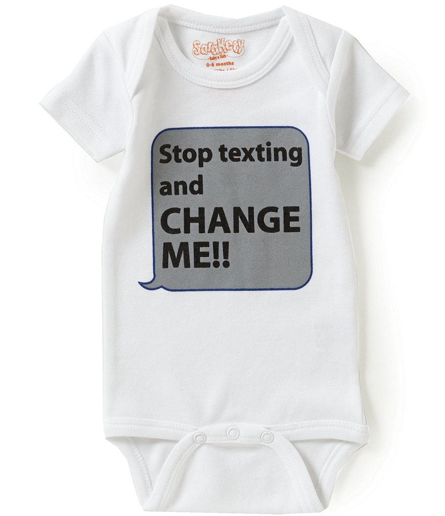 Sara Kety Baby Girls Newborn-12 Months Stop Texting And Change Me Short-Sleeve Bodysuit
