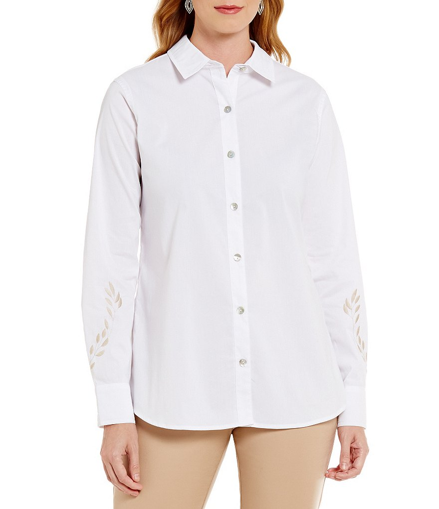 Sigrid Olsen Signature Embroidered Button-Down Shirt