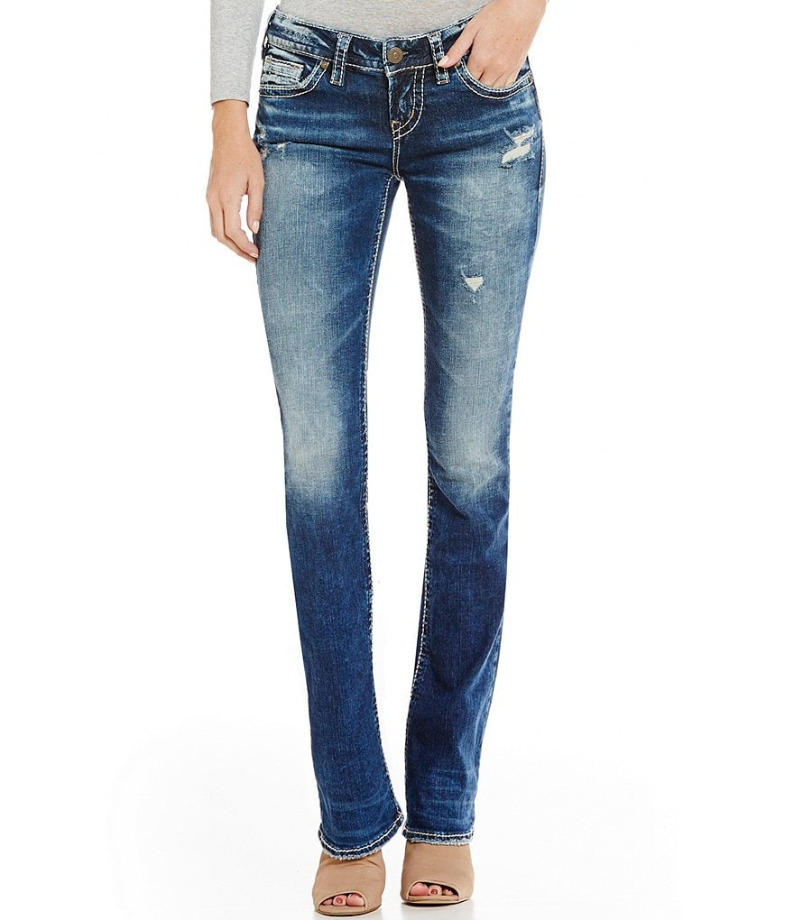 Silver Jeans Co. Aiko Distressed Faded Mid Bootcut Jeans