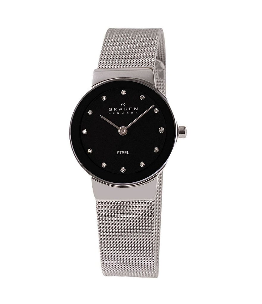Skagen Black-Dial Glitz Watch