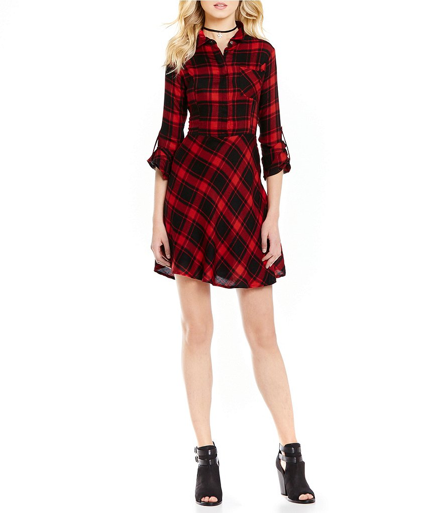 Skies Are Blue Button Front A-line Long Roll-Tab Sleeve Plaid Dress