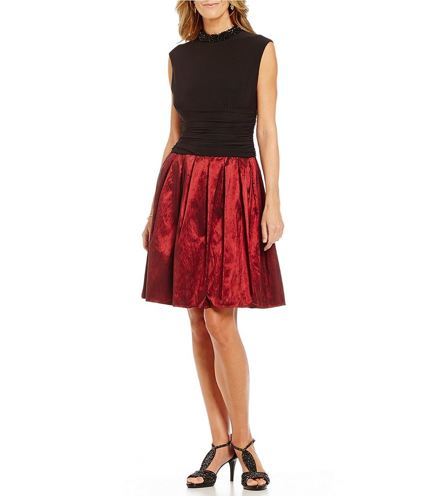 S.L. Fashions Beaded Mockneck Taffeta Party Dress