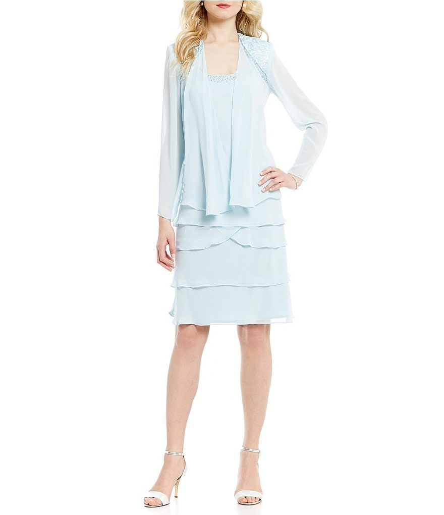 S.L. Fashions Lace-Shoulder Chiffon Jacket Dress