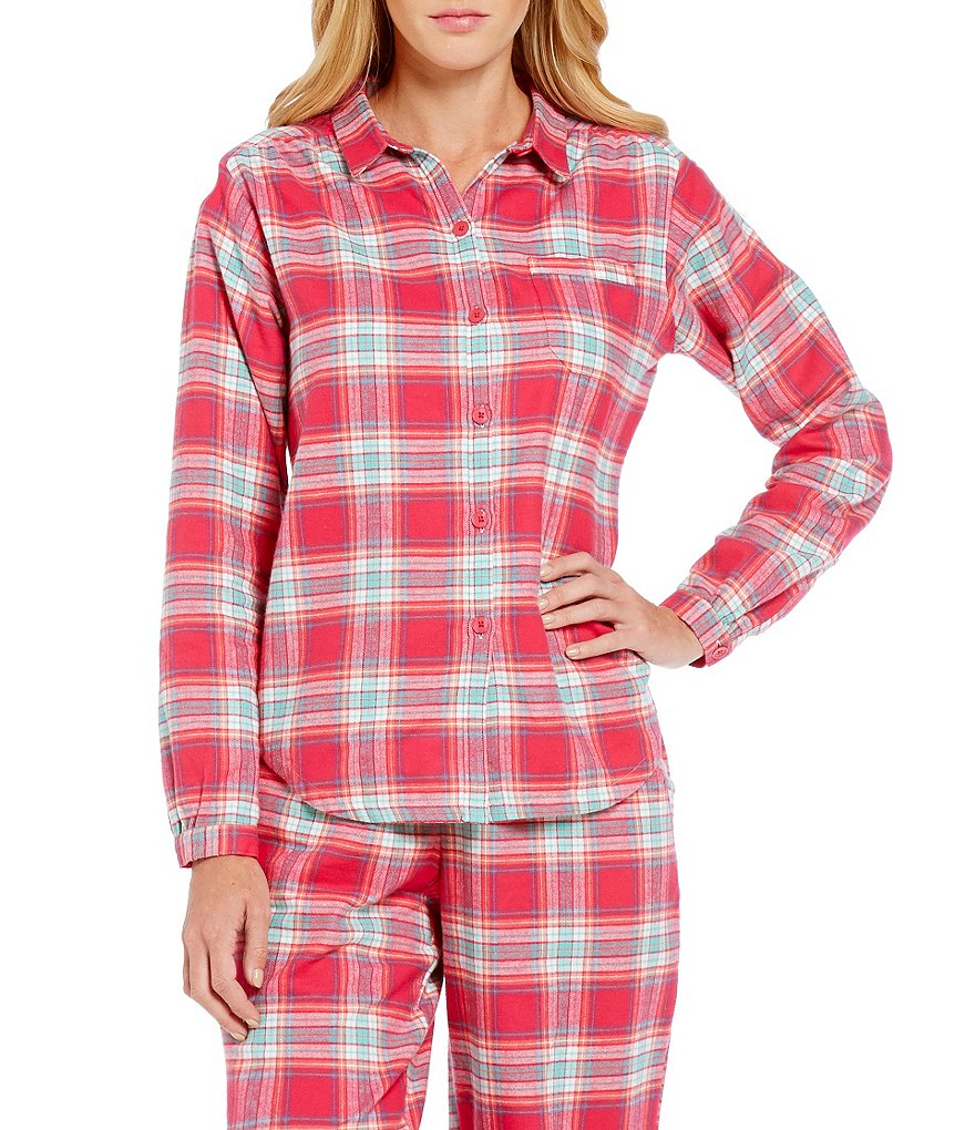 Sleep Sense Plaid Flannel Sleep Top