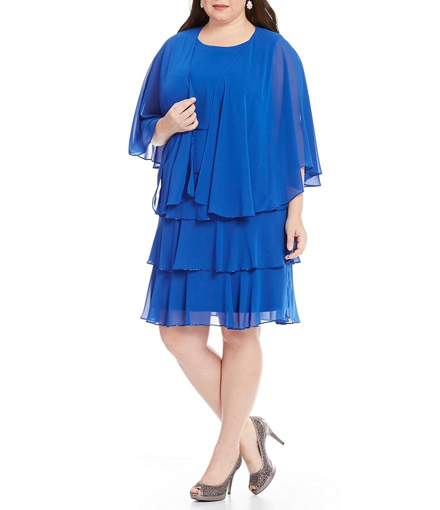 S.L.Fashions Plus Beaded Edge Tier Cape Jacket Dress