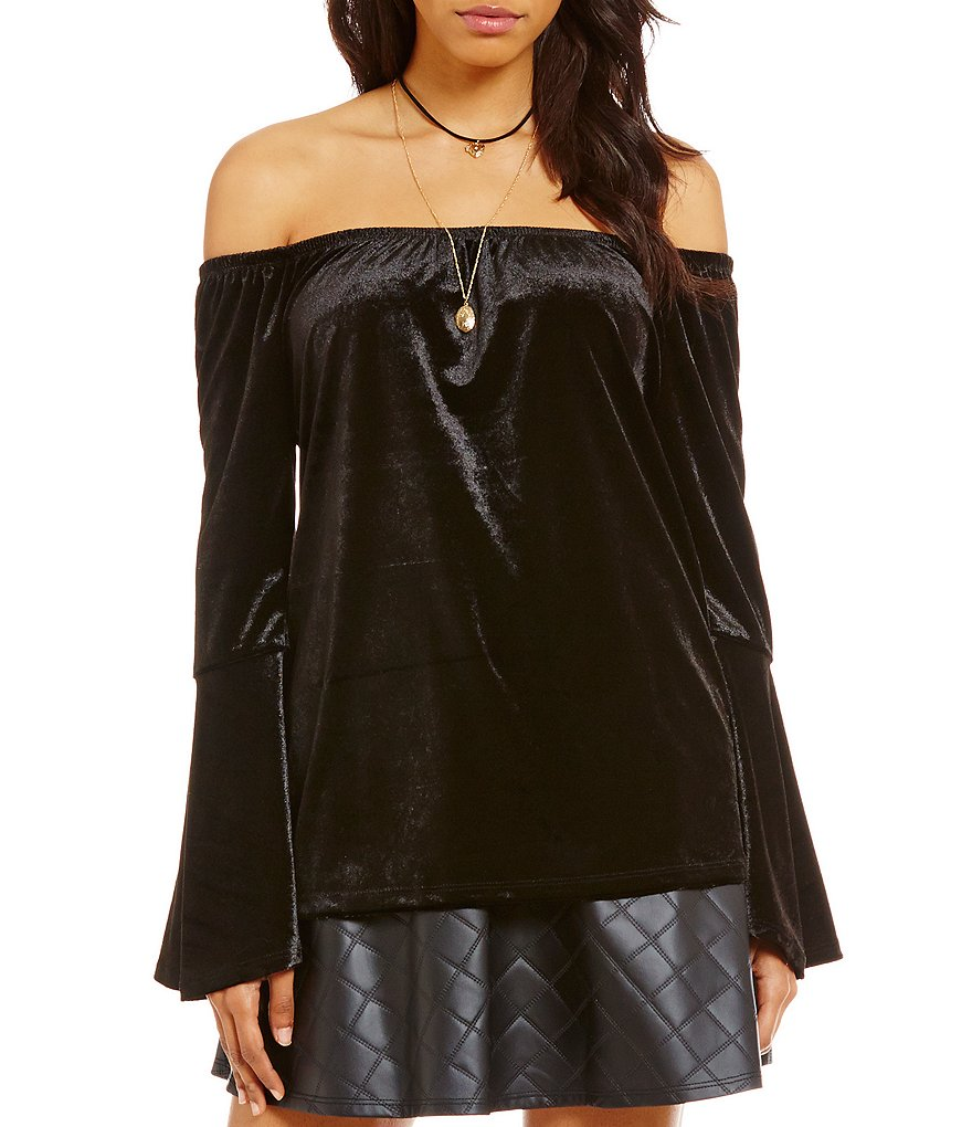 Soulmates Off-The-Shoulder Velour Bell Sleeve Knit Top