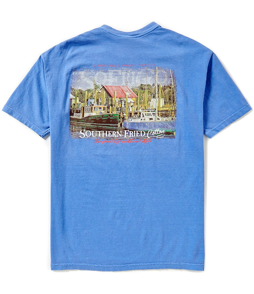 Southern Fried Cotton Mens Marina Pocket Graphic Tee