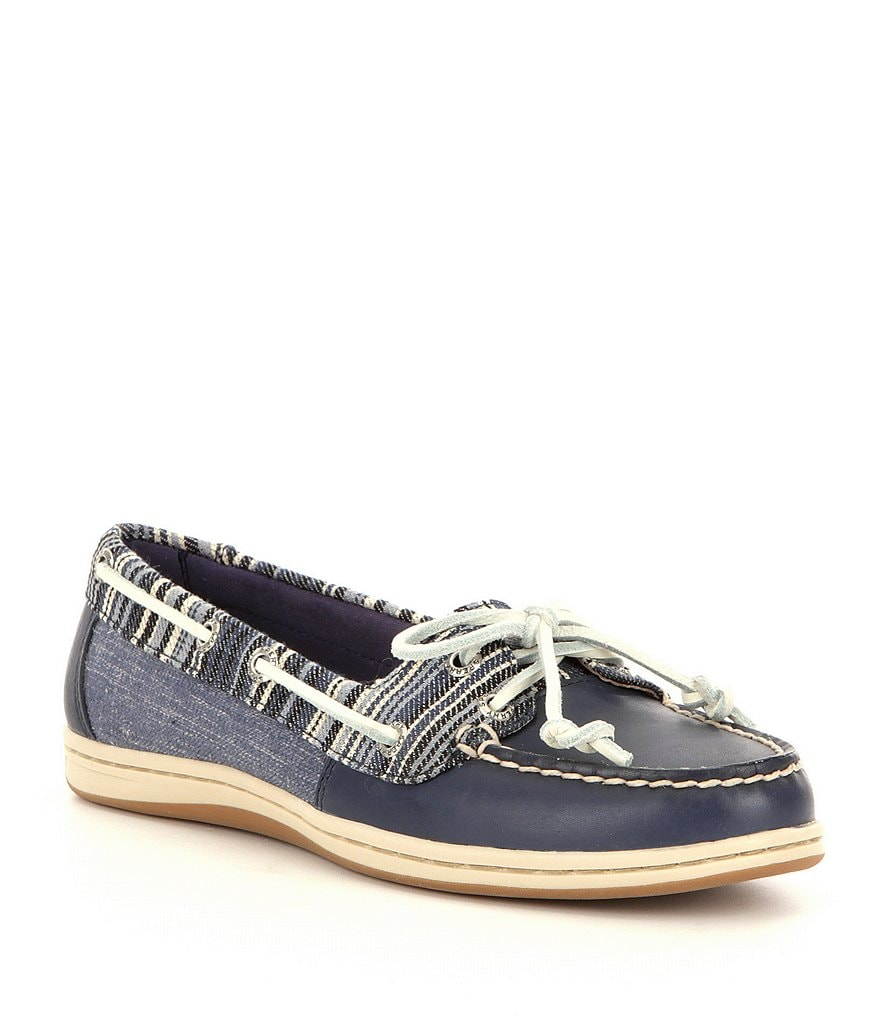 sperry firefish leather denim textile slip on boat shoes
