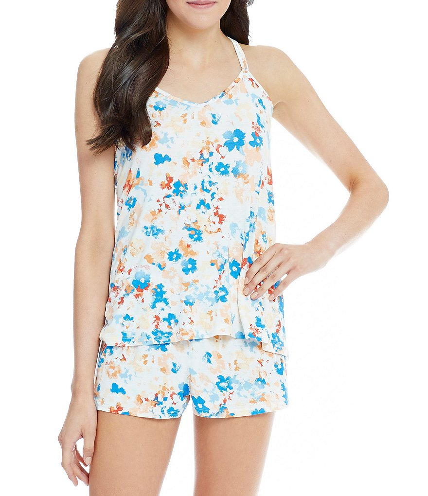 Splendid Floral Cross-Back Drapey Lounge Tank