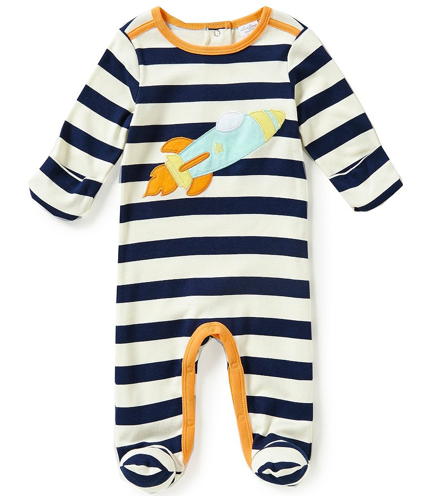 Starting Out Baby Boys Newborn-6 Months Rocket-Appliquéd Striped Coverall