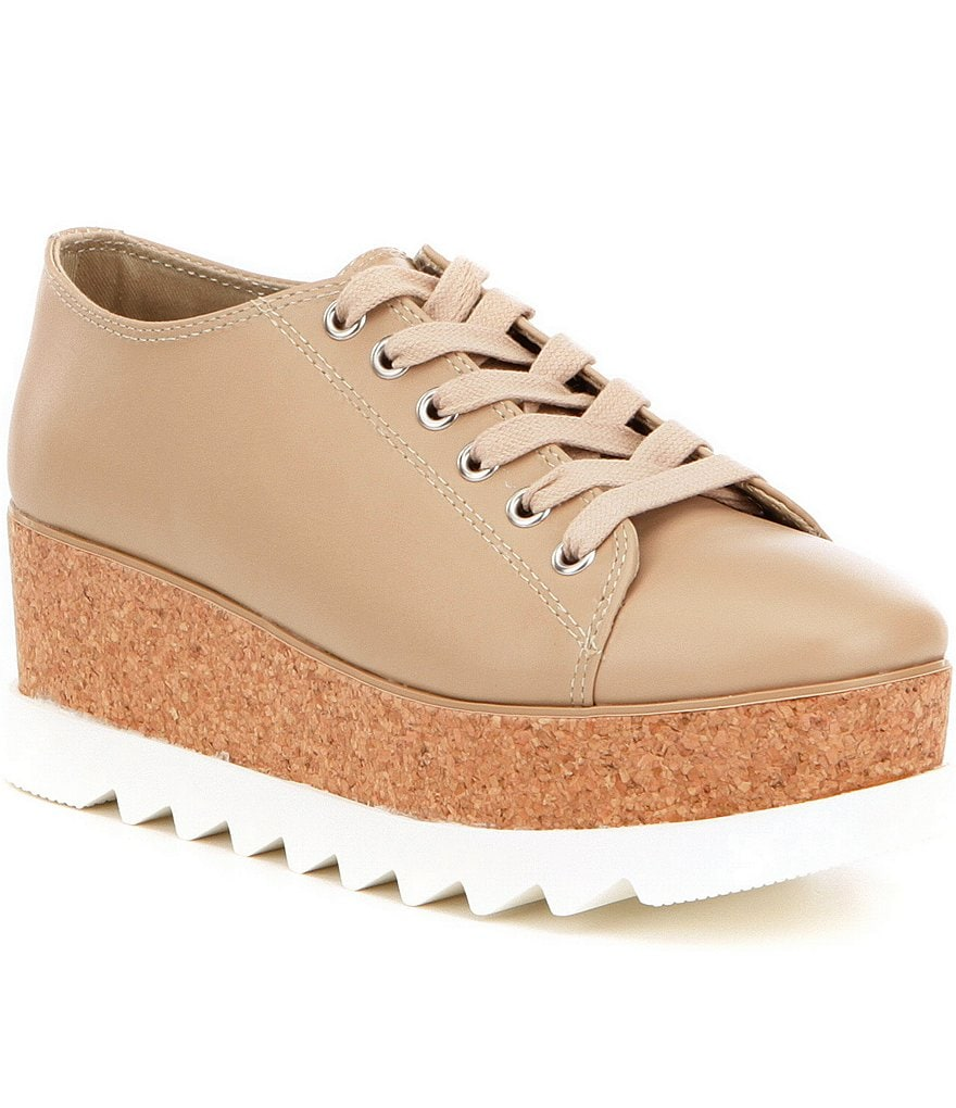 Steve Madden Korrie Leather Cork Platform Lace-Up Sneakers