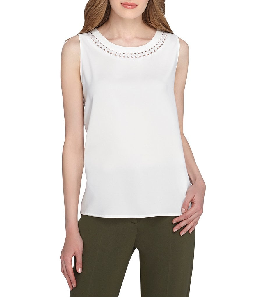 Tahari ASL Laser-Cut Crew Neck Sleeveless Top