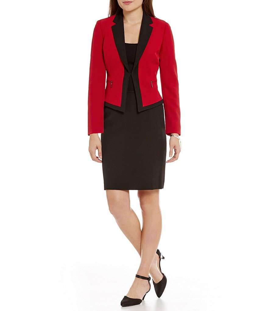 Tahari ASL Petite Colorblock 2-Piece Skirt Suit