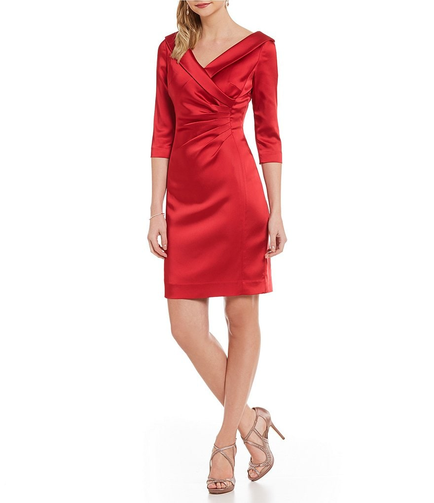 Tahari ASL Petite Portrait-Collar Satin Sheath Dress