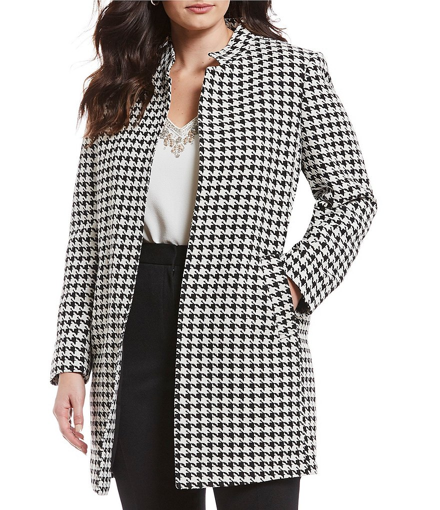 Tahari ASL Plus Size Star Neck Houndstooth Open Front Topper Jacket