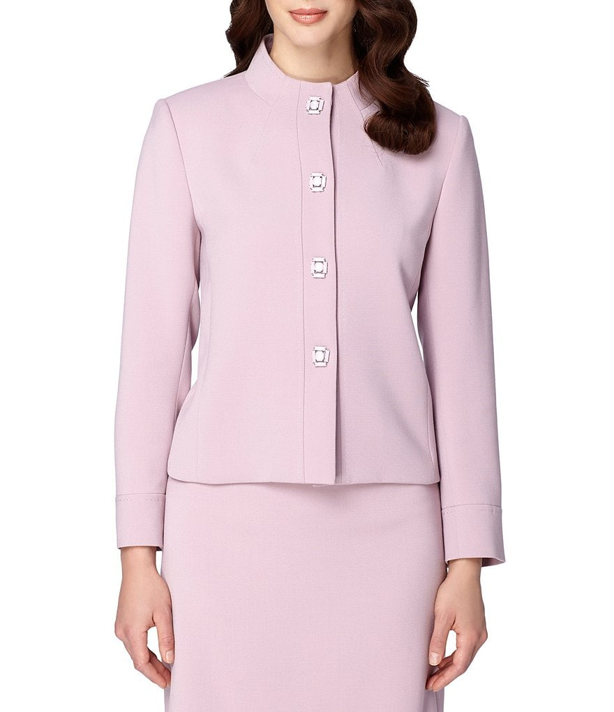 Tahari ASL Stand Collar Ponte Beaded Button Jacket