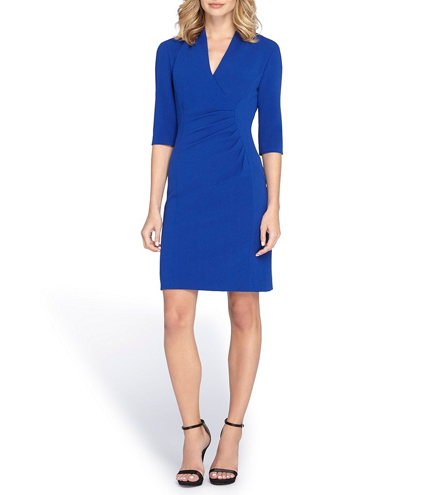 Tahari ASL Stretch Ruched Sheath Dress
