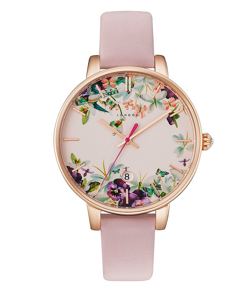 Ted Baker London Enchanted Garden Analog & Date Leather-Strap Watch