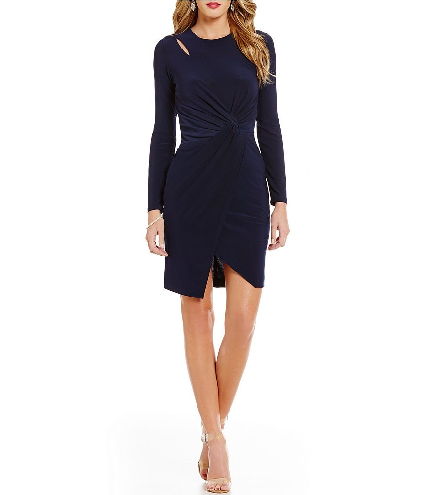 Teeze Me Knotted Long-Sleeve Sheath Dress